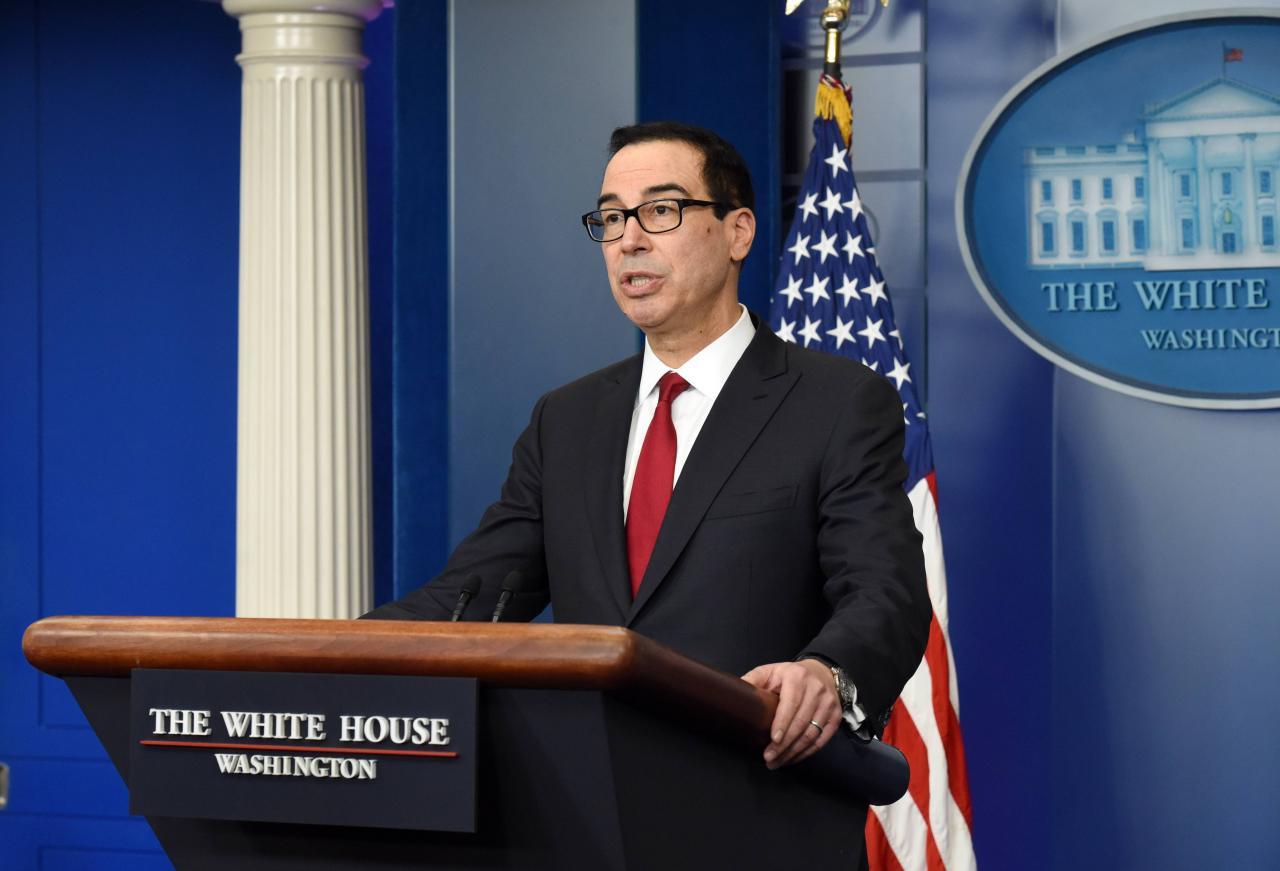Treasury Secretary Steven Mnuchin speaks at the Press Briefing -  DC